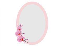 Oglindă decorativă ovală cu ramă roz şi orhidee.