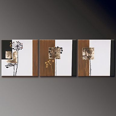 Hand-Painted Floral/Botanical Modern Oil Painting , Canvas Three Panels 4643867 2016 – $142.99