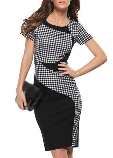 Plaid Print Patchwork Design Back Slit Dress on sale only US$21.88 now, buy cheap Plaid Print Patchwork Design Back Slit Dress at lulugal.com