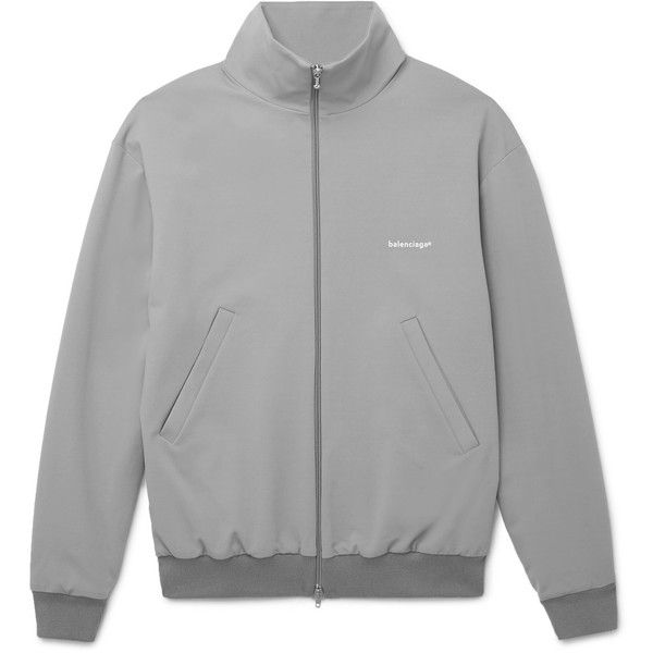 Balenciaga Jersey Track Jacket ($1,190) ❤ liked on Polyvore featuring men's fashion, men's clothing, men's activewear and men's activewear jackets