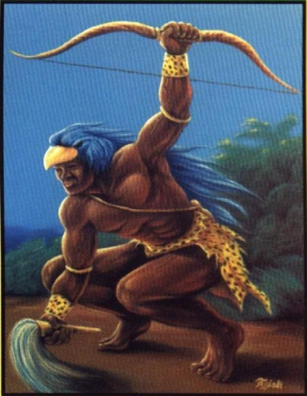 Oxóssi (Òsóòsi) é o deus caçador, senhor da floresta e de todos os seres que nela habitam, orixá da fartura e da riqueza. Astúcia, inteligência e cautela são os atributos de Oxóssi, pois, como revela a sua história, esse caçador possui uma única flecha, por tanto, não pode errar a presa, e jamais erra. Oxóssi é o melhor naquilo que faz, está permanentemente em busca da perfeição.