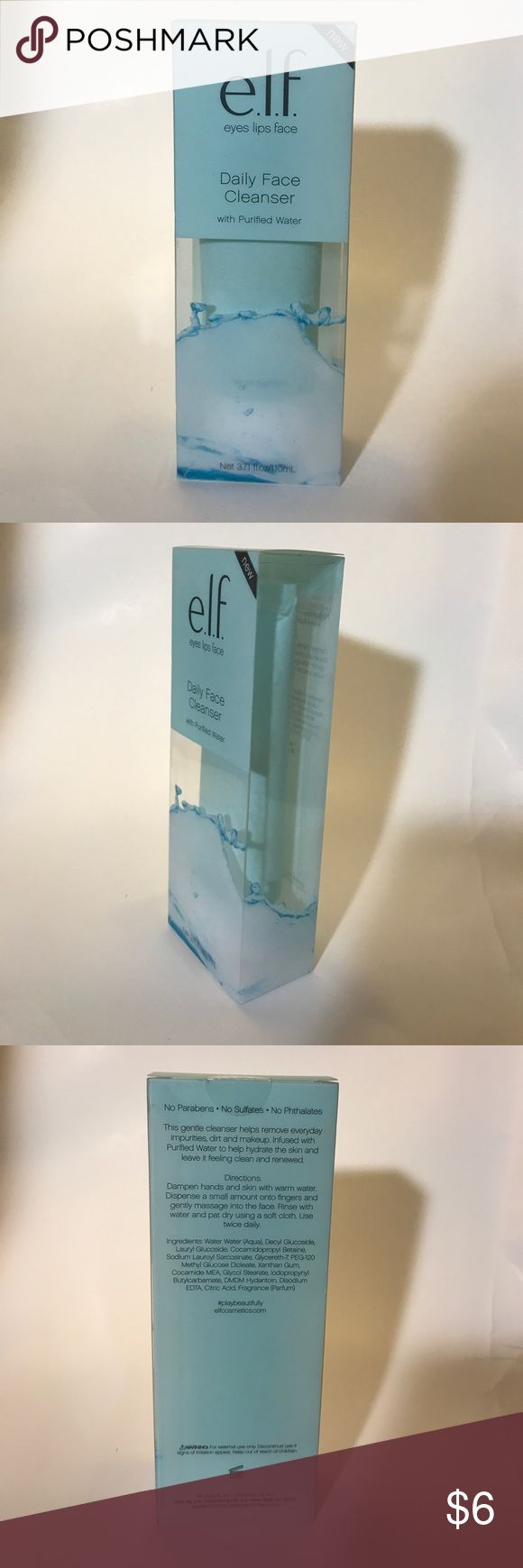 e.l.f. eyes lips face Daily Face Cleanser Eyes - Lips -Face With Purified Water No Parabens No Sulfates No PhthalatesThis gentle cleanser helps remove everyday impurities, dirt and makeup. Infused with Purified Water to help hydrate the skin and leave it feeling clean and renewed. e.l.f. Makeup