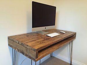 Reclaimed Pine Rustic BOX Desk Solid Wood Dressing Table Metal Hairpin Legs   eBay