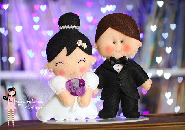 Felt Bride and Groom...awww!    http://ericacatarina.blogspot.co.uk/