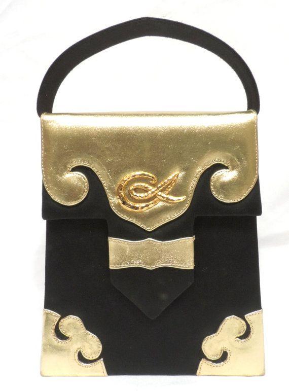 Vintage Christian Lacroix sac à main Designer noir or