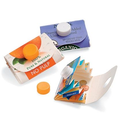 Carton Wallet - Recycle a milk or orange juice carton into a clever carrying case for change, trading cards, and more. The carton's cap keeps the wallet closed.