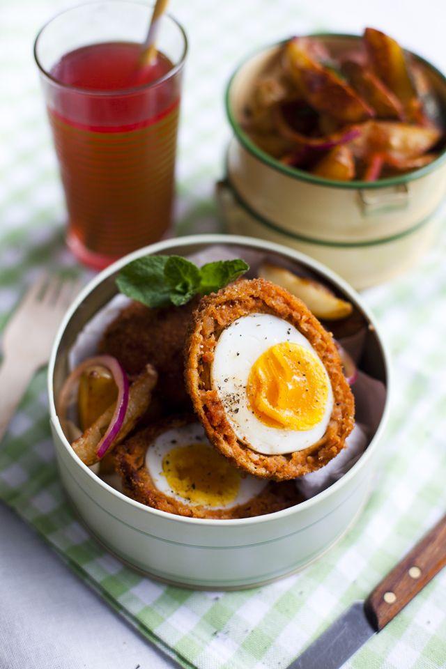 Chorizo Scotch Eggs with Paprika Spiced Potato Salad | DonalSkehan