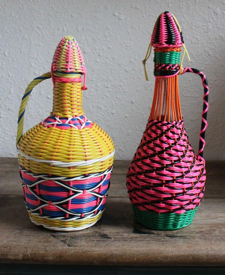 Scoubidou wicker-look vase