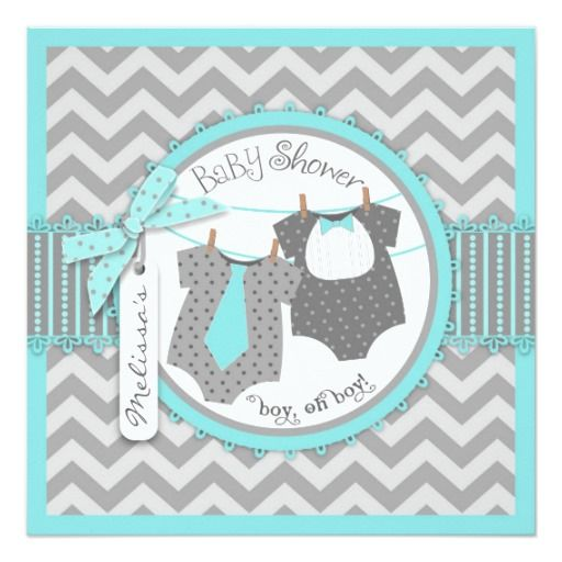 Sweet polka dot print jumpers with tie and bow-tie on clothesline and 3D-look bow and ribbon for twin boys baby shower invitation card.  Colors are aquas and grays.