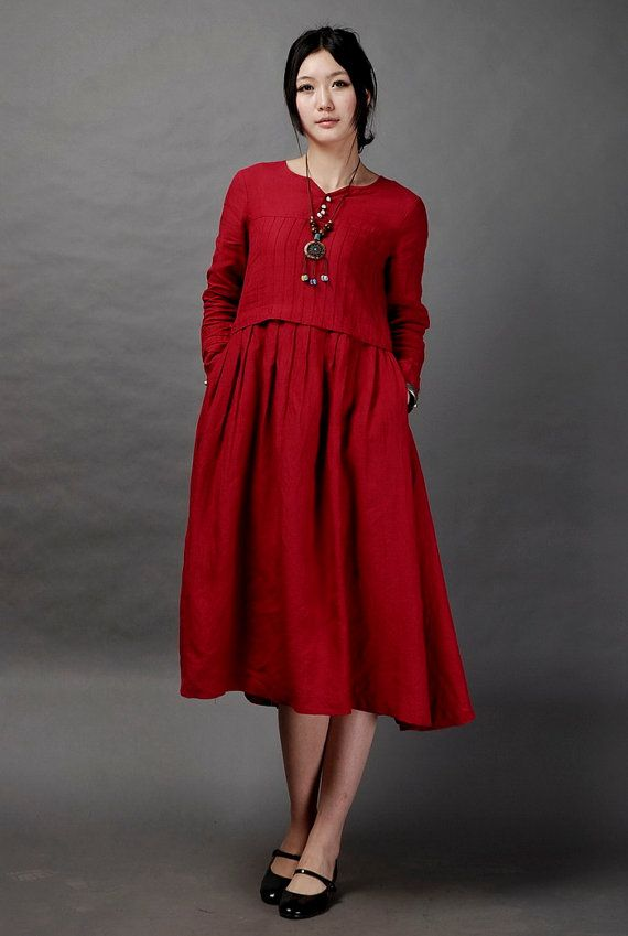 Just a Dream-Dark red long linen dressmore by FashionColours