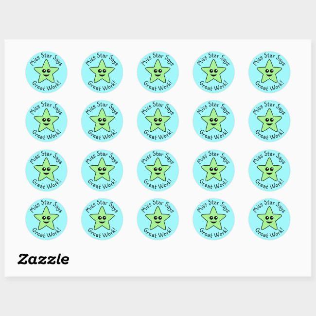 Green Star Great Work Stickers Zazzle Com Work Stickers