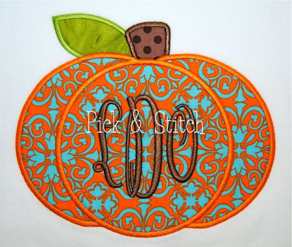 Monogram Pumpkin Fall Applique Design Machine by pickandstitch