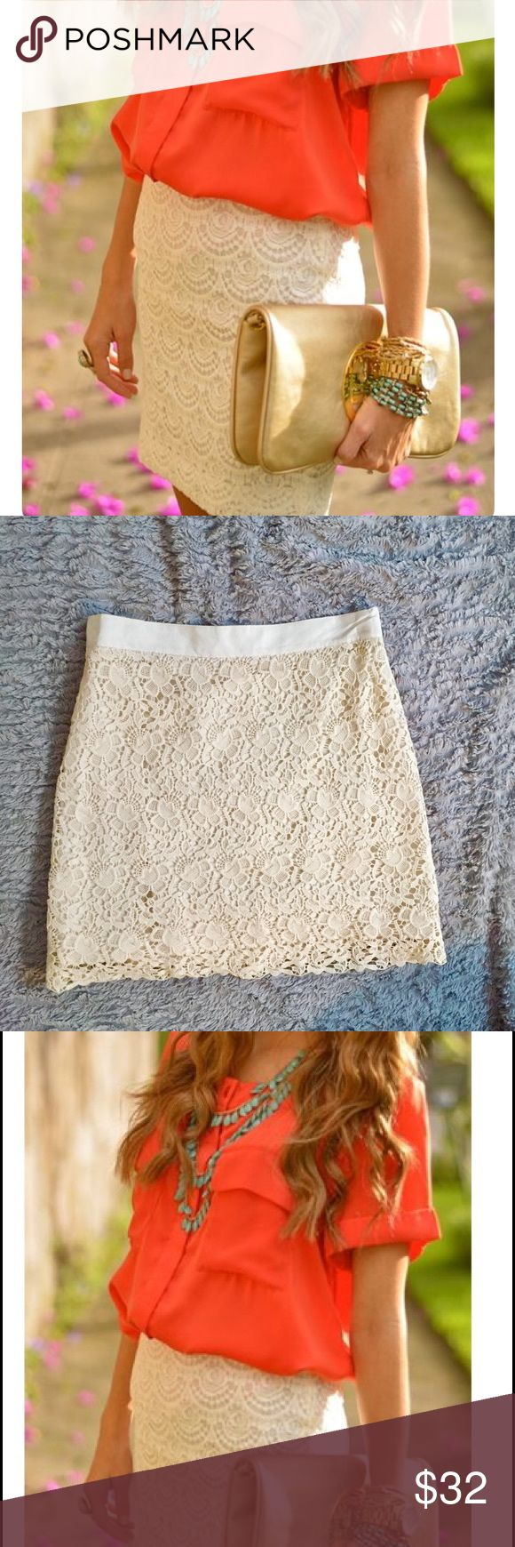 Cream Lace Skirt Feminine cream Lace skirt with zip back. Great piece for a work or party outfit! Ann Taylor Skirts