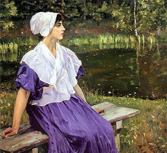 Girl by a Pond (Portrait of Natalia Nesterova), 1923 by Михаил Нестеров. Постимпрессионизм. портрет. частное собрание