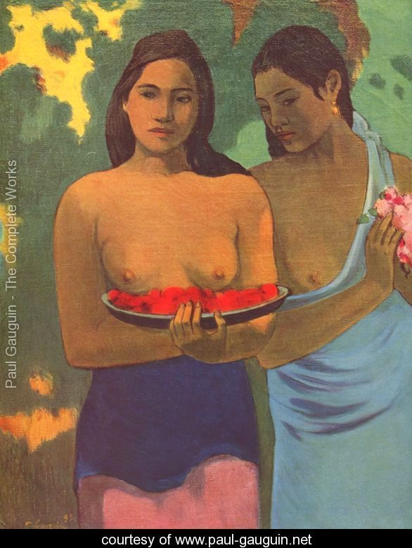 Deux Tahitiennes - Two girls with mango blossoms - Paul Gauguin - www.paul-gauguin.net