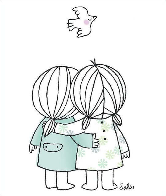 I like this one.  Best Friends by Lamevamaleta, via Flickr. Great Embroidery Pattern. I can see Mother & Daughter. I really like this one! jwt