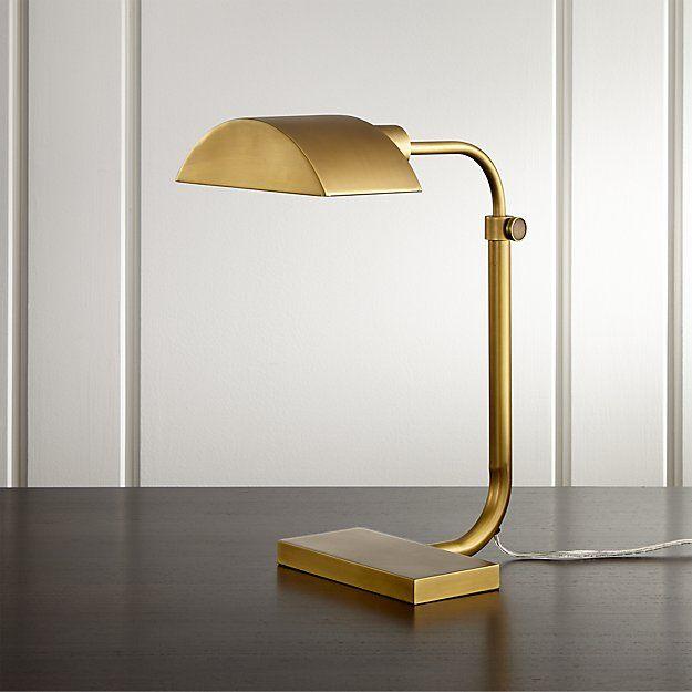 Theorem aged brass desk lamp