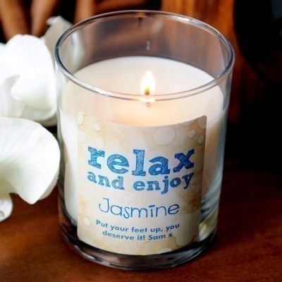Personalised relax and enjoy scented candle #MothersDay #candle #relax #thepersonalisedgiftshop £14.99