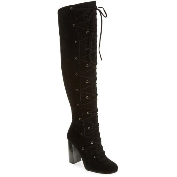 Women's Vince Camuto Thanta Over The Knee Boot (1,790 HKD) ❤ liked on Polyvore featuring shoes, boots, black suede, black boots, tall over the knee boots, over-the-knee lace-up boots, black lace up boots and tall lace up boots