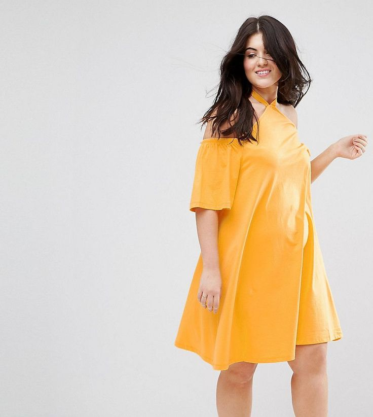 ASOS CURVE Halterneck Cold Shoulder Sundress - Orange