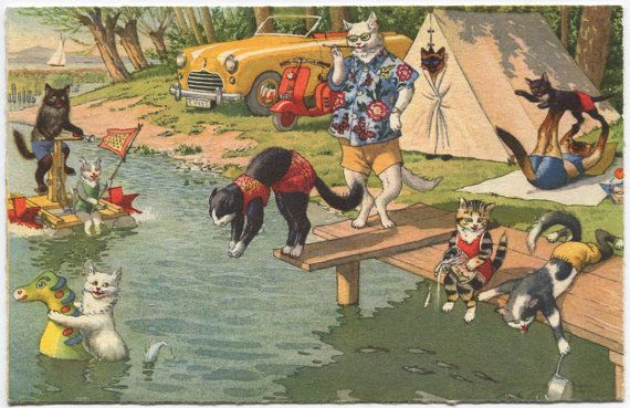 Vintage Cats Summer Picnic Postcard Alfred Mainzer