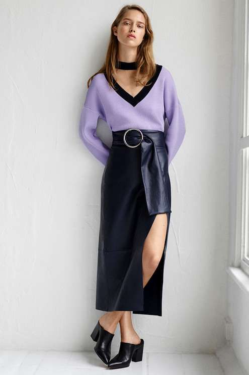 Leather goes a long way this season, and is seen here in a skirt form created by Boutique. Featuring a split at the front, the skirt also features a buckled ring belt and is cut in a midi length. Wear with a tailored shirt for a polished finish. #Topshop