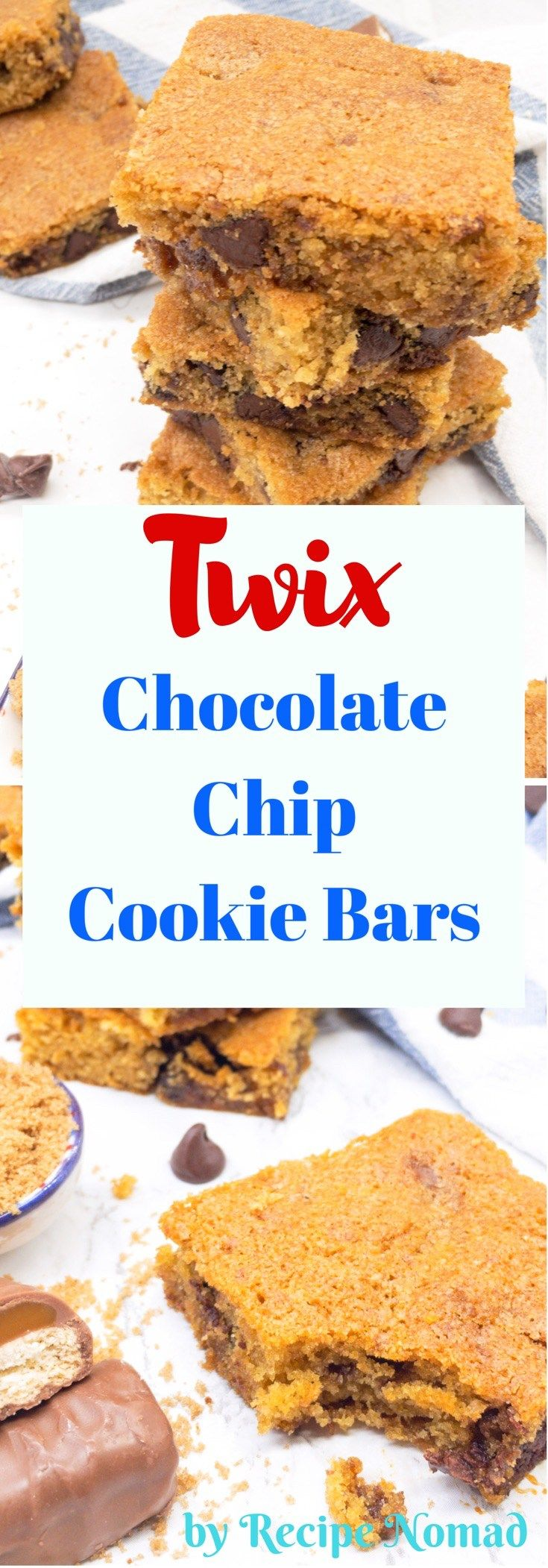 If you love Twix Bars, you're seriously going to love these Twix Chocolate Chip Cookie Bars. Don't blame me if you eat the whole pan!  Twix Chocolate Chip Cookie Bars | Recipe Nomad