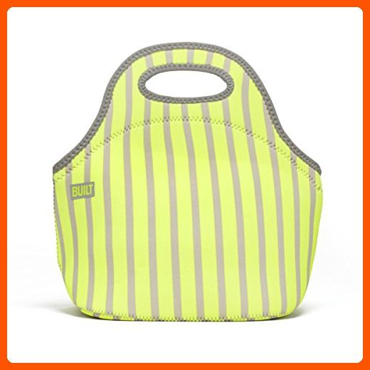 BUILT NY Gourmet Getaway Neoprene Lunch Tote, Neon Stripe Lime - Fun stuff and gift ideas (*Amazon Partner-Link)