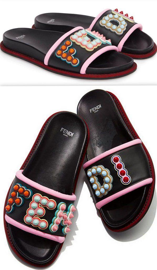Studded Logo Slide Sandals   Womens
