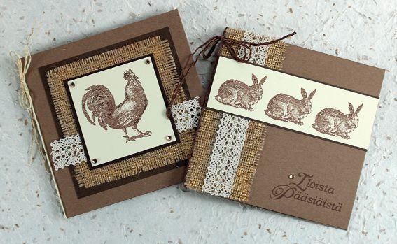 Vintage-henkiset kortit on tehty leimailemalla. Tarvikkeet ja ideat Sinellistä!