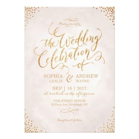 Glam blush glitter rose gold calligraphy wedding card - click to get yours right now!