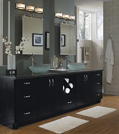 Love the vessel sinks & faucets on top of the granite countertop
