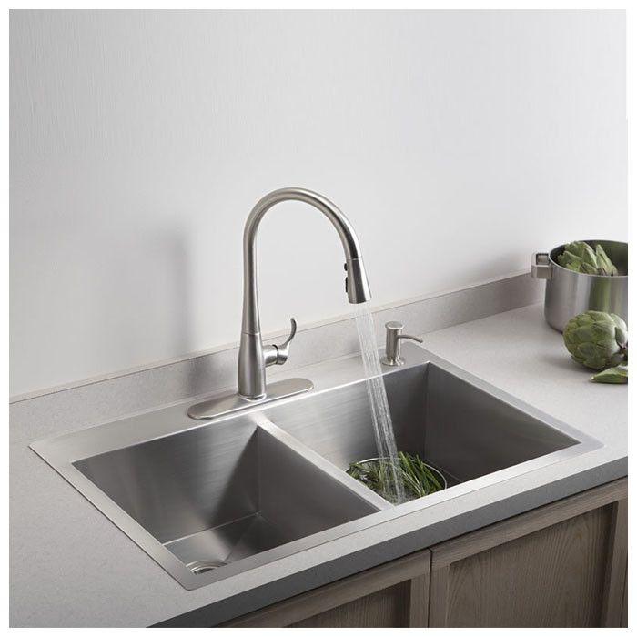 "Vault 33"" x 22"" x 9-5/16"" Top-Mount/Under-Mount Large/Medium Double-Bowl Kitchen Sink with Single Faucet Hole"
