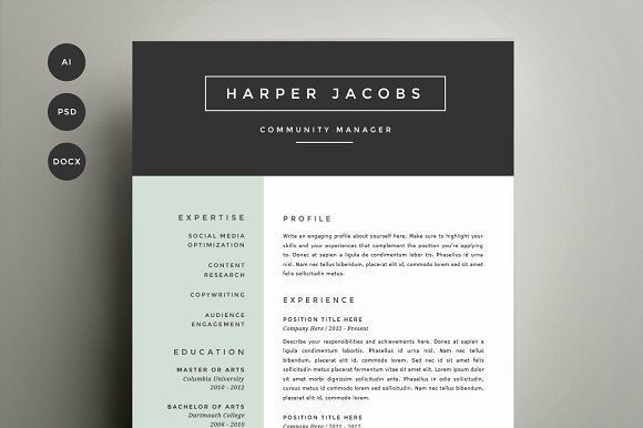 Resume Template 4 Pack   CV Template by Refinery Resume Co. on @creativemarket Professional printable resume / cv cover letter template examples creative design and great covers, perfect in modern and stylish corporate business design. Modern, simple, clean, minimal and feminine style. Ready to print us letter and a4 layout inspiration to grab some ideas. In psd, indd, docs, ms word file format.