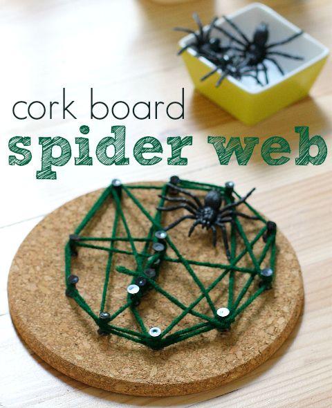 Spider web craft. This is really cool and no glue so no drying time needed! #Halloween #kidscrafts