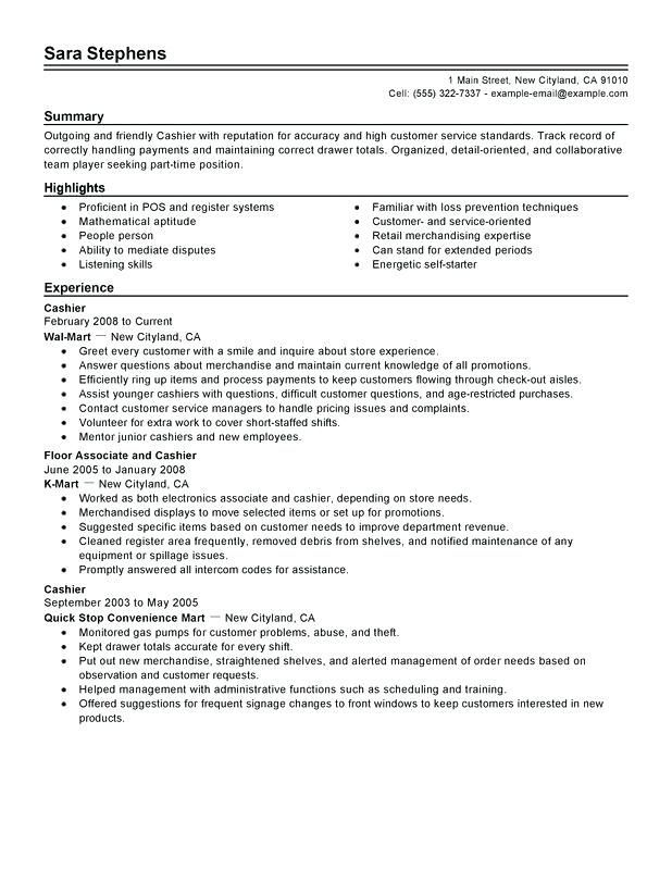 example of cashier resume part time cashiers resume sample
