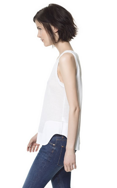 TANK TOP WITH ROUNDED HEM - T-shirts - Woman - ZARA United Kingdom