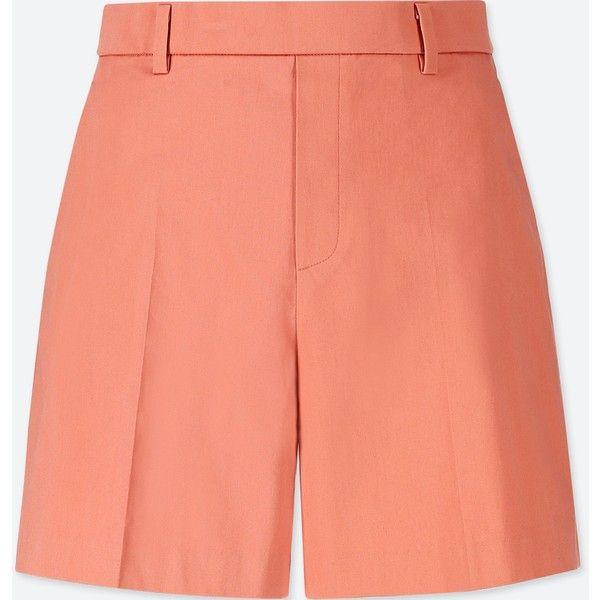 UNIQLO Women's Satin Shorts (75 RON) ❤ liked on Polyvore featuring shorts, light orange, flare shorts, dressy shorts, uniqlo shorts, flared shorts and stretchy shorts
