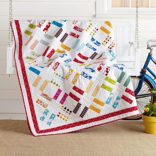 Pick-it fence quilt pattern: Colors Options, Quilts Patterns, Pick It Fence, Pickit Fence, Picket Fence, Red Border, Fence Blocks, Fence Quilts, Railings Fence