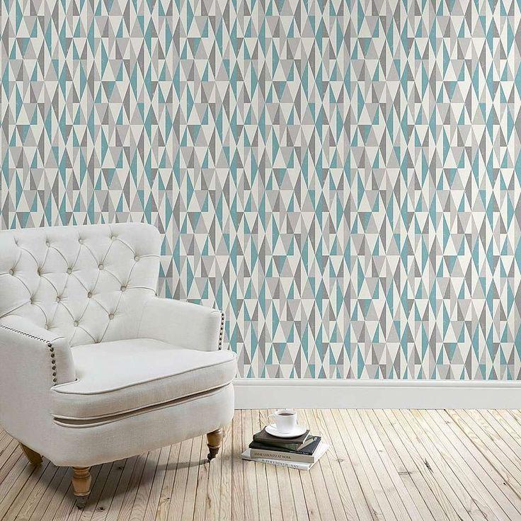 Teal Triangles Wallpaper   Dunelm