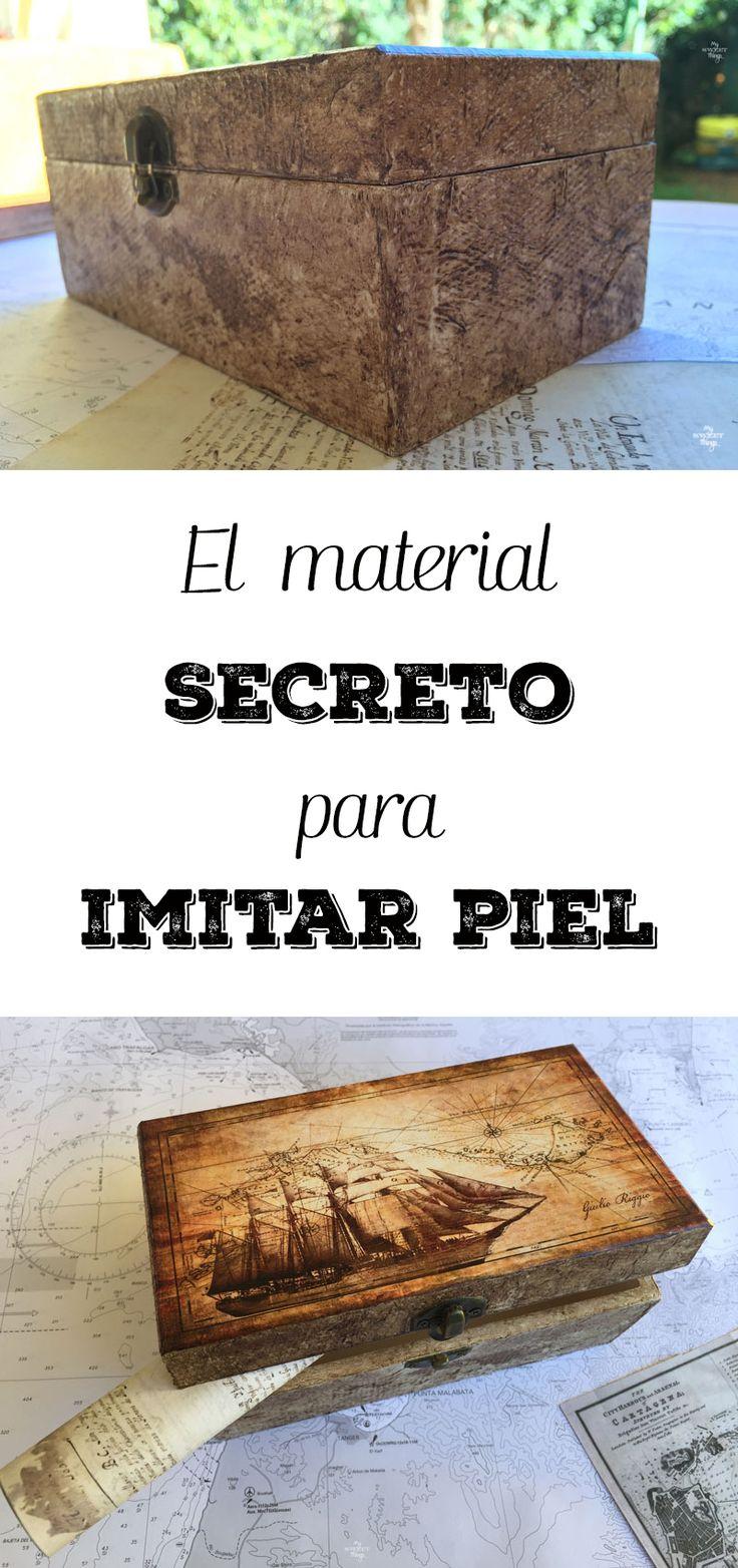 El material secreto para imitar piel  ·  Caja náutica DIY para un enamorado del mar usando la técnica del decoupage, es un regalo hecho a mano…