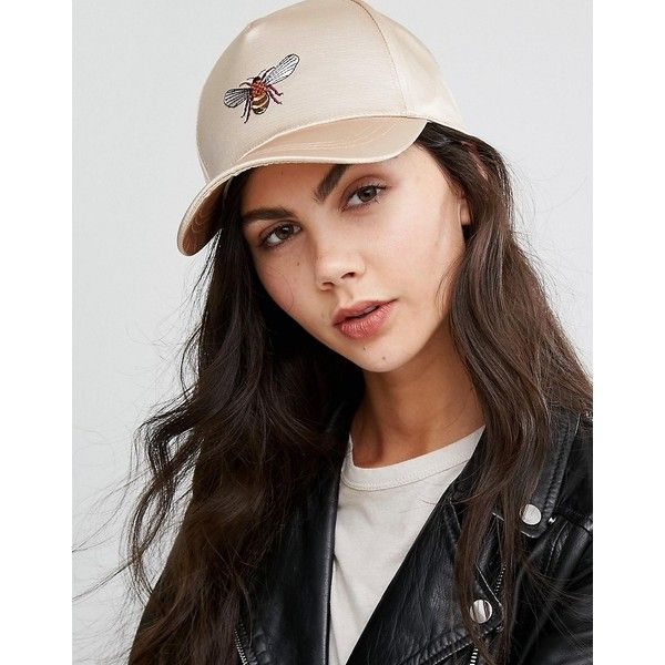 ASOS Bee Satin Baseball Cap (€17) ❤ liked on Polyvore featuring accessories, hats, gold, crown hat, embroidered baseball caps, ball cap hats, bee hat and crown baseball cap