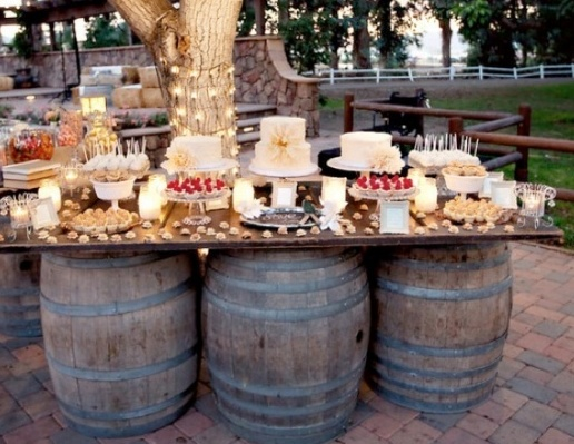 Whiskey Barrel Wedding Table/Buffet/Bar