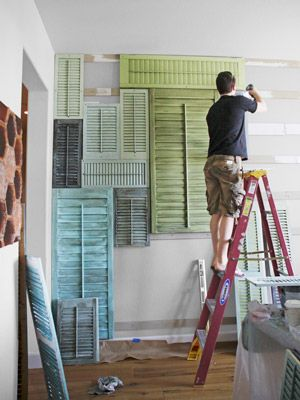 Interior Wall Decorating Ideas - How To Create A Shutter Wall - Country Living