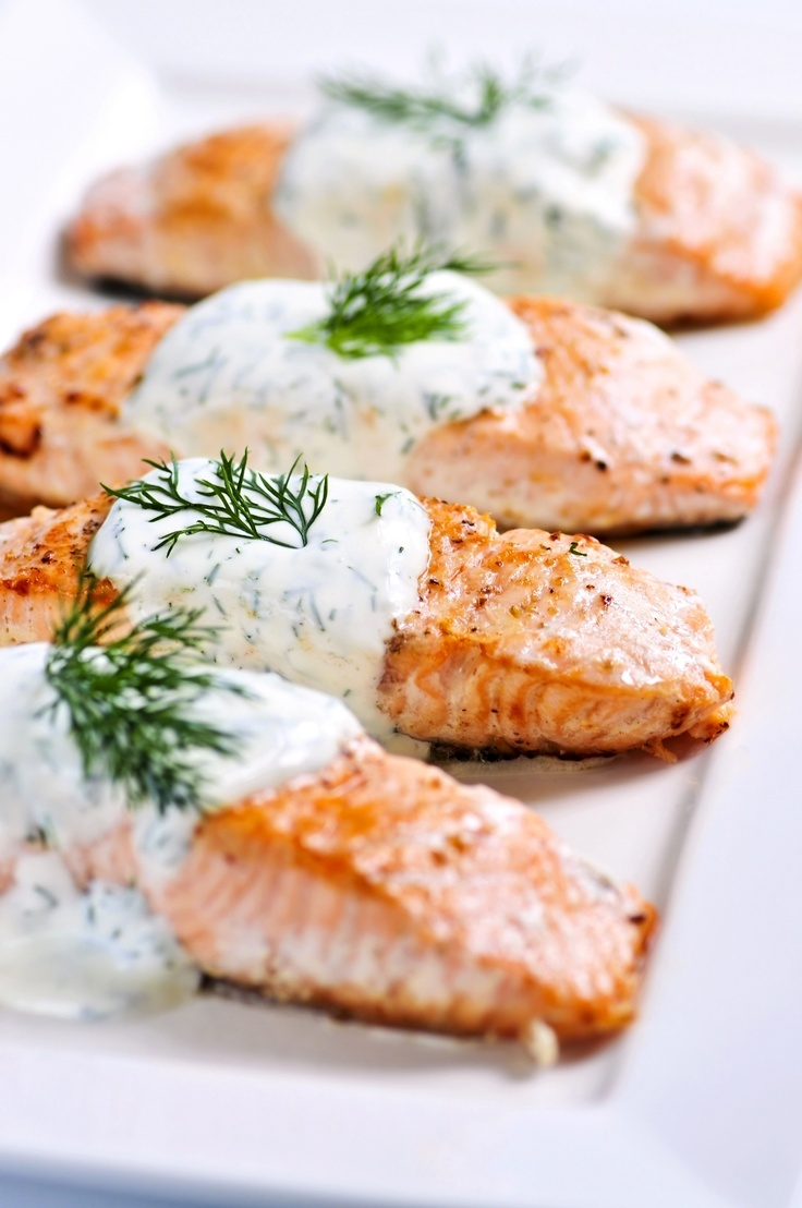 Greek Salmon - serving this with couscous and grape tomato/ cucumber salad with feta cheese tomorrow night. YUM.