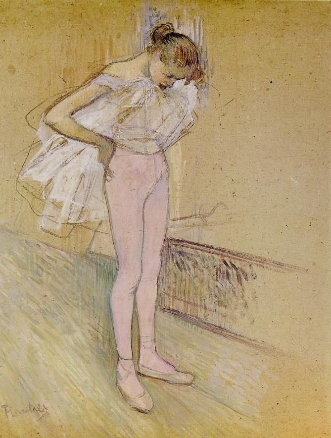 """Henri de TOULOUSE-LAUTREC """"Danseuse ajustant son maillot"""""""