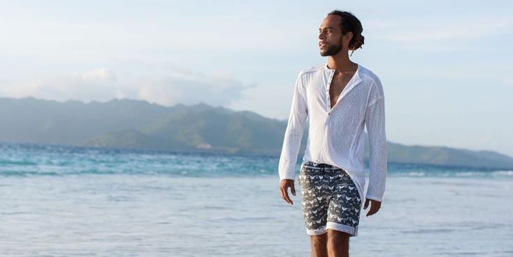 WE-AR designs intelligent separates, made from 100% certified organic, eco-luxe cotton and bamboo, for the urban yoga lifestyle. Mens yoga shorts + Mens Henley Tee: Summer Tonton shot on location at Mao Meno, Bali, Indonesia for we-ar.com