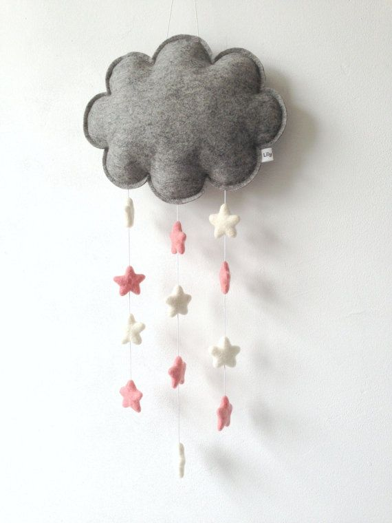 Cloud Mobile Cloud and Stars Felt Cloud Wall Hanging by LilyRazz