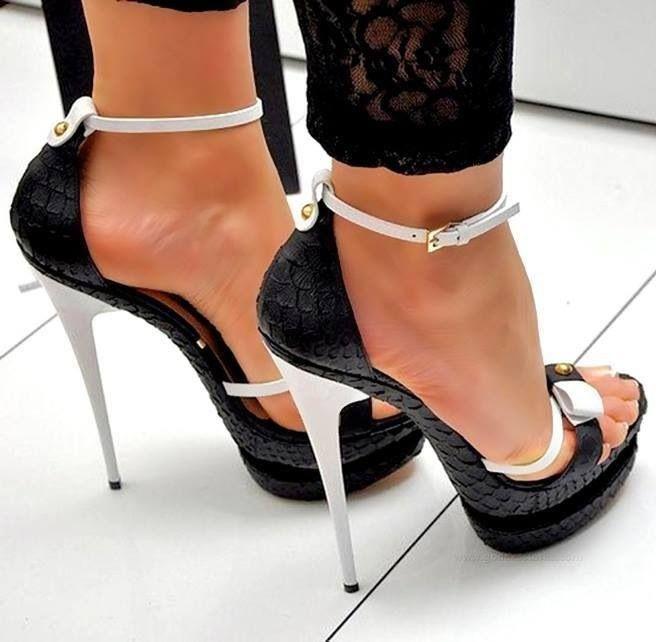 Black  White Snake Skin Stilettos With Gold Accents -2428