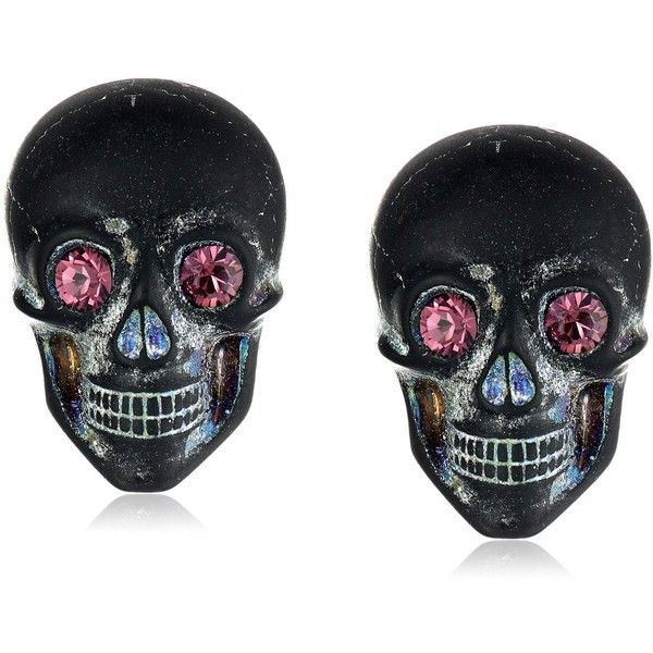"Tarina Tarantino ""Classic"" Multi Lucite Skull Post Earrings (£18) ❤ liked on Polyvore featuring jewelry, earrings, skulls, skull jewellery, acrylic earrings, skull jewelry, tarina tarantino earrings and handcrafted jewelry"